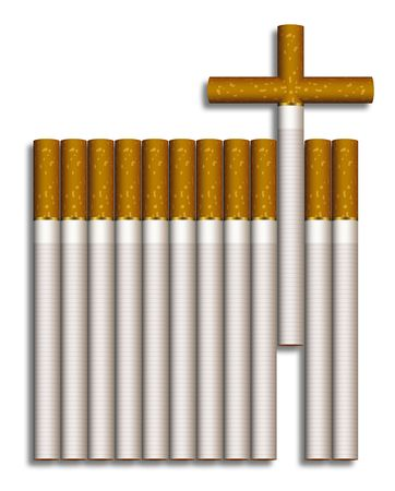 abstain: Cigarettes composed to a grave Stock Photo