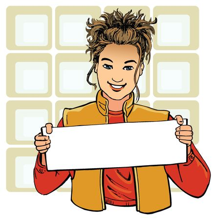 post teen: Girl holding a blank poster. Ready for signage, branding and advertising.