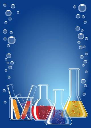 specimen: Different coloured chemical substances in laboratory glasses on blue background