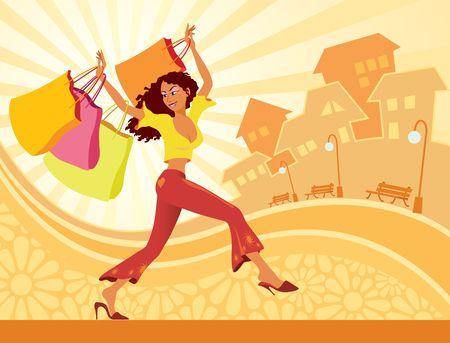 mujer en el supermercado: Ilustración de la chica con bolsas de la compra  Foto de archivo