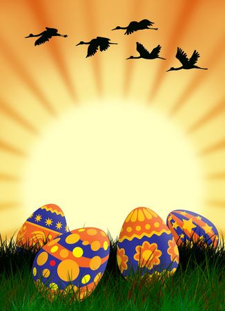 hallelujah: Easter painted eggs in the grass and the spring sun
