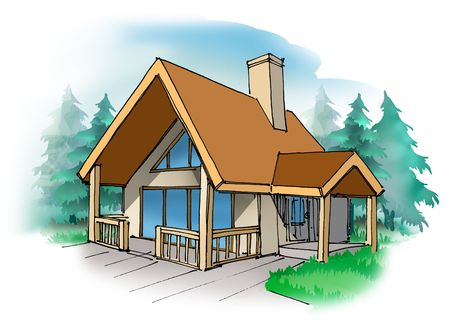 vacation home: A small vacation home in the country Stock Photo