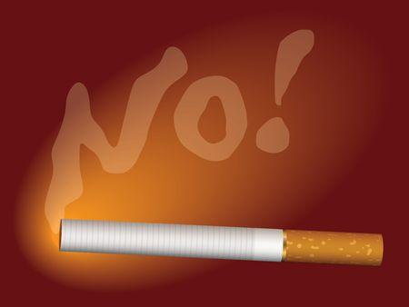 carcinogen: �Ilustraci�n del cigarrillo y del humo que escriben una palabra NO! Foto de archivo