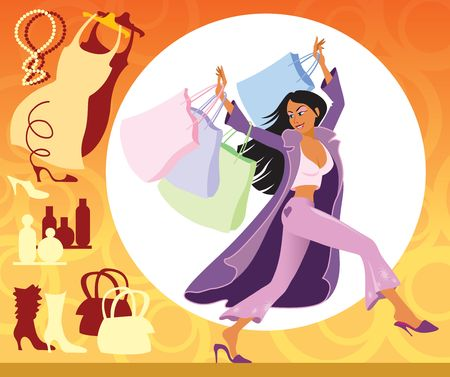 Illustration of girl with shopping bags on the sales Stock Illustration - 876697