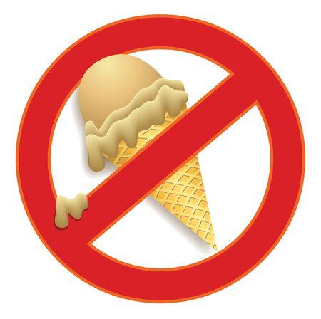 prohibido: Prohibido comer helado en un signo prohibido