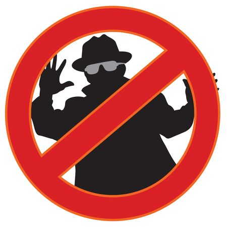 sneak: Illustration of no spy-ware symbol