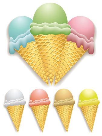 gelato: illustration of ice cream cones with different flavors