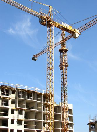 Construction site with cranes working                                Stock Photo - 892027