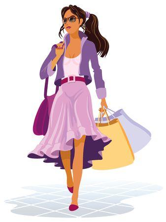 mujer en el supermercado: Ilustración de las niñas con bolsas de la compra en las ventas