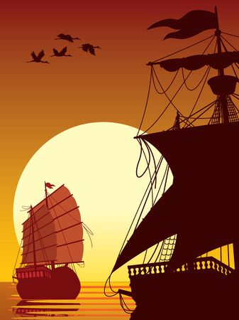 Illustration of two ancient ships sailing into the sunset
