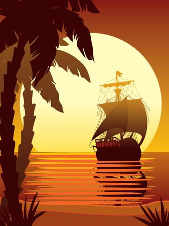 warship: Illustration of ancient ship sailing into the sunset Stock Photo