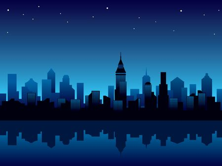Illustration with panorama of modern city at night. Stock Illustration - 907589