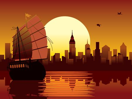 Illustration with panorama of oriental modern city and ancient ship sailing