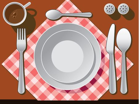 drink tools: Place setting with plate, fork, spoon knife, and coffee cup.