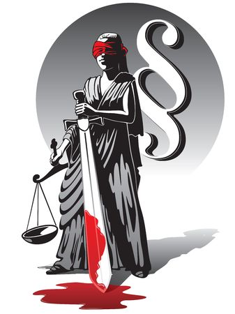 justness: Blind Lady Justice holding scale and sword Stock Photo