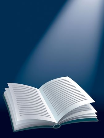 best guide: Illustration of open book on dark blue background with sunshine.
