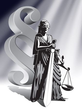 tribunal: Blind Lady Justice holding scale and sword Stock Photo