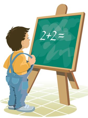 Young boy is standing in front of blackboard. Stock Photo - 961324