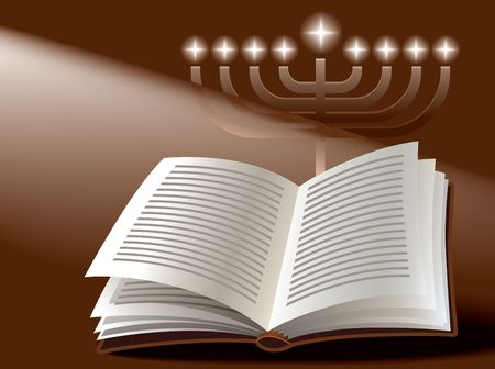 Hanukkah: menorah, book and sunshine photo