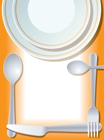 commercial kitchen: Place setting with plate, fork, spoon, knife