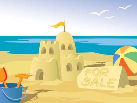 Beautiful sandcastle for sale, at the beach. photo