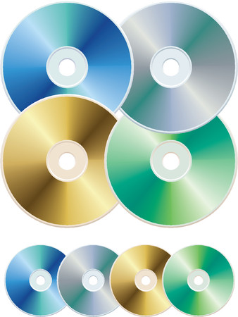 data storage device: Vector illustration of colorful compact discs