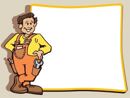 マニュアル: 肉体労働者は空白ポスターの近くに立っています。  イラスト・ベクター素材