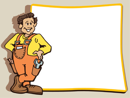 promoting: Manual worker is standing near a blank poster