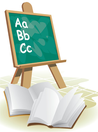 Two open blank books in front of blackboard. Stock Vector - 1200692