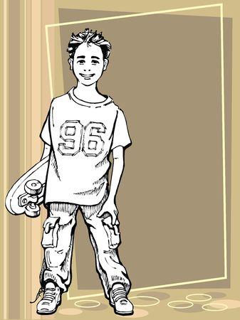 ni�o en patines: Chico joven la celebraci�n de su patineta  Foto de archivo