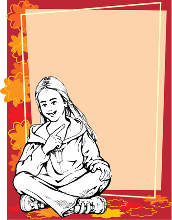 Blond girl pointing at a blank poster Vector