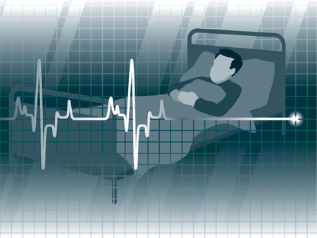 intensive care: Electrocardiogram and a patient