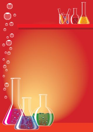 substances: Different chemical substances in laboratory glasses Stock Photo