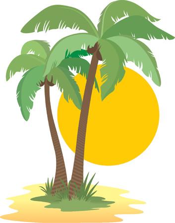 Coconut palm trees, sun, sunset and sand Illustration