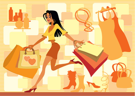 lucky bag: Girl with shopping bags in red Illustration