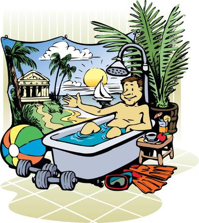 vacation home: Man enjoys the bath in the bathtub.