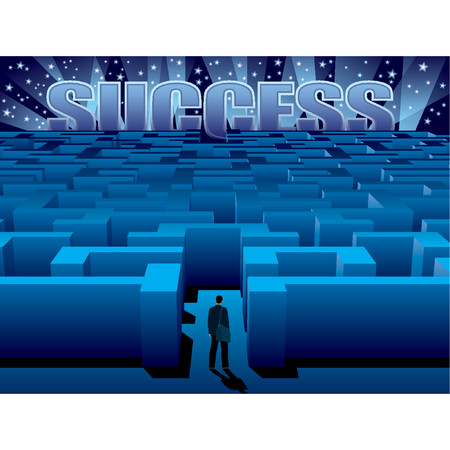 Maze of problems and choices to reach a success Stock Vector - 1326247