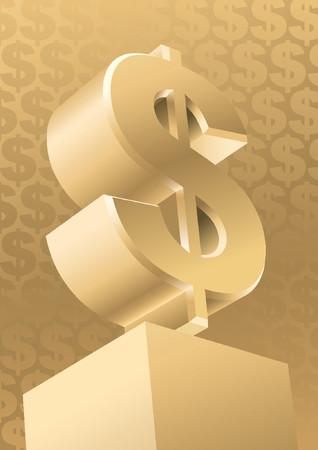 honorarios: Gold monumento de d�lar americano, vector