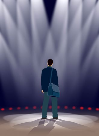 theater man: An actor is standing in spotlights on a stage Stock Photo