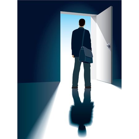 A businessman is standing in front of an open door Stock Vector - 1372902