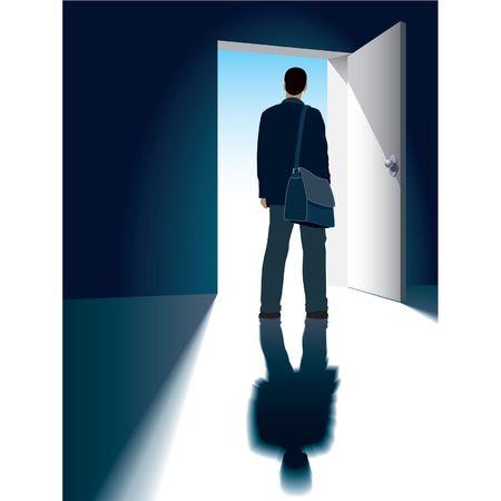 doorways: A businessman is standing in front of an open door