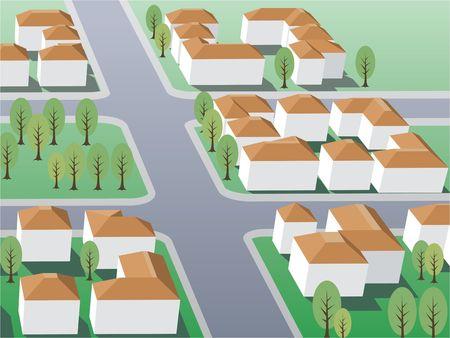 porch: Illustration of suburb buildings design for real estate