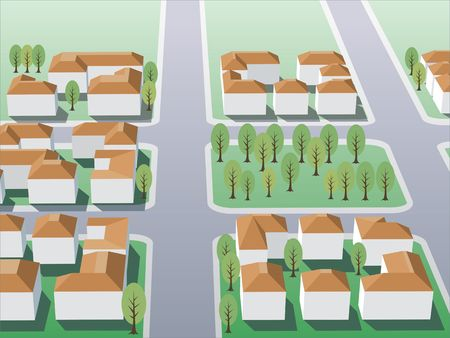 Illustration of suburb buildings design for real estate Stock Illustration - 1358016