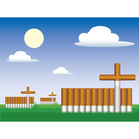 churchyard: Cemetery and cigarettes grave, vector Illustration