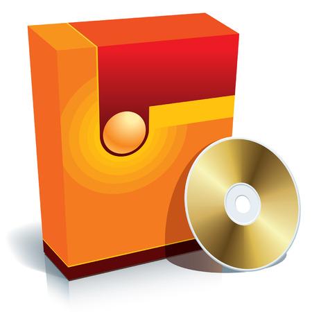 individualit�: Rosso 3d casella vuota con CD, vettore.