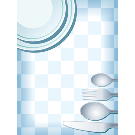 Blue place setting with plate, fork, spoon knife, and coffee cup. Stock Vector - 1422104
