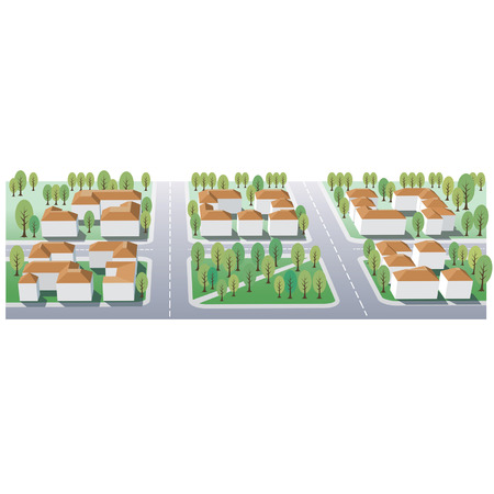 home buyer: Illustration of suburb buildings design