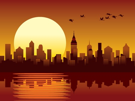 Sunset in a big modern city Stock Photo - 1425367