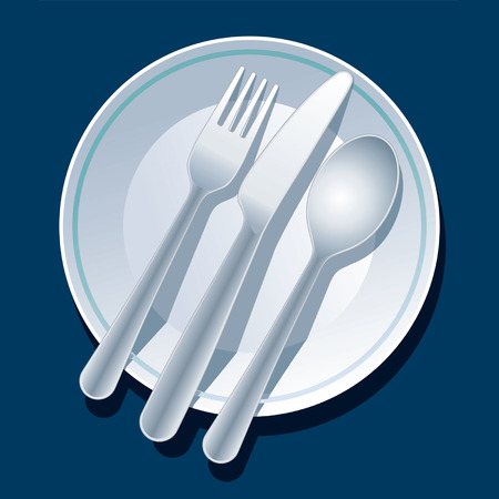 commercial kitchen: Blue place setting with plate, fork, spoon, knife Illustration