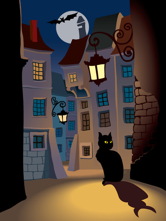 Demonic cat on a street, perfect illustration for Halloween illustration